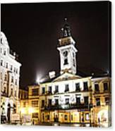 Cieszyn Town Center At Night Canvas Print