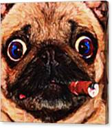 Cigar Puffing Pug - Painterly Canvas Print