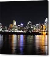 Cincinnati Skyline At Night From Covington Kentucky Canvas Print