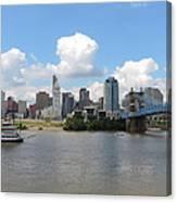 Cincinnati Skyline With A Boat Canvas Print