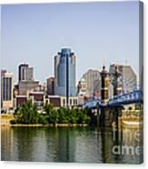 Cincinnati Skyline With Roebling Bridge Canvas Print