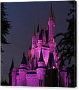 Cinderella Castle Illuminated In Pink Glow Canvas Print