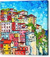Cinque Terre Italy Manarola Colorful Houses  Canvas Print