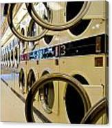 Circular Doors On Laundromat Washing Machines Canvas Print