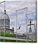 Cirque Carpe Diem Near Quays Along Saint Lawrence River In Montreal-qc Canvas Print