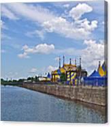 Cirque De Soleil Tents Near Quays Along Saint Lawrence River In Montreal-qc Canvas Print