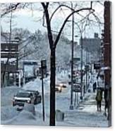 City In Snow Canvas Print