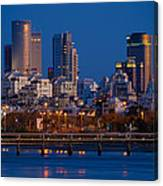 city lights and blue hour at Tel Aviv Canvas Print