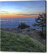 City Lights From Sunrise Point At Mt. Nebo - Arkansas Canvas Print