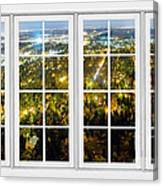 City Lights White Window Frame View Canvas Print