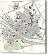 City Map Or Plan Of Florence Or Firenze Canvas Print