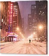 City Night In The Snow - New York City Canvas Print