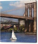 City - Ny - Sailing Under The Brooklyn Bridge Canvas Print