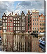 City Of Amsterdam At Sunset In Netherlands Canvas Print