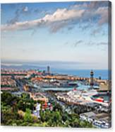 City Of Barcelona From Above At Sunset Canvas Print