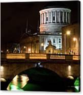 City Of Dublin At Night In Ireland Canvas Print