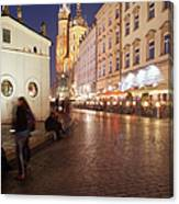 City Of Krakow By Night In Poland Canvas Print