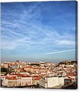City Of Lisbon At Sunset Canvas Print