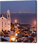 City Of Lisbon In Portugal At Night Canvas Print