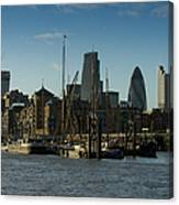 City Of London River Barges Wapping Canvas Print