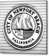 City Of Newport Beach Sign Black And White Picture Canvas Print