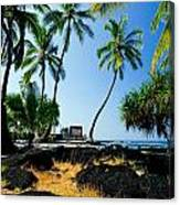 City Of Refuge - A View Of A Hawaiian Traditional House  Canvas Print