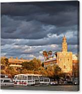 City Of Seville At Sunset Canvas Print