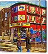 City Paint Benjamin Moore Rue Rachel And Hotel And De Ville Montreals Oldest Paint Store  C Spandau  Canvas Print