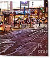 City Scene - Crossing The Street - The Lights Of New York Canvas Print