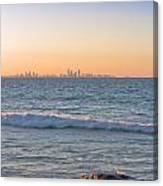 City Skyline And Flowing Water Canvas Print