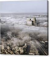 City Skyscrapers Above The Clouds Canvas Print