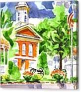 City Square In Watercolor Canvas Print