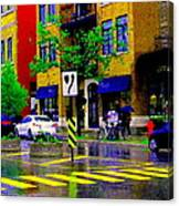 City Street Relections In The Rain Quebec Art Colors And Seasons Montreal Scenes Carole Spandau Canvas Print