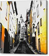 City Street Scene Black And Yellow Photograph Canvas Print