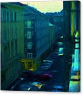 City Streets Digital Painting Canvas Print