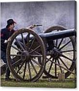 Civil War Reenactor Firing A Revolver Canvas Print