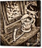 Civil War Shaving Mug And Razor Black And White Canvas Print