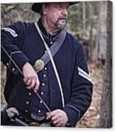 Civil War Union Soldier Reenactor Loading Musket Canvas Print