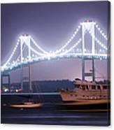 Claiborne Pell Bridge At Night Canvas Print