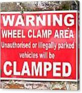 Clamping Sign Canvas Print