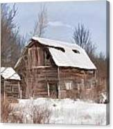 Classic Barn In Snow Canvas Print