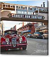 Classic Cannery Row - Monterey California With A Vintage Red Car. Canvas Print