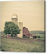 Classic Farm With Red Barn And Silos Canvas Print
