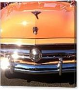 Classic Ford Car Hood Peach Canvas Print