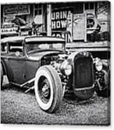 Classic Hot Rod In Black And White Canvas Print