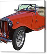 Classic Red Mg Tc Convertible British Sports Car Canvas Print
