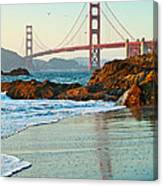 Classic - World Famous Golden Gate Bridge With A Scenic Beach And Birds. Canvas Print