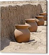 Clay Pots At Huaca Pucllana In Lima Peru Canvas Print