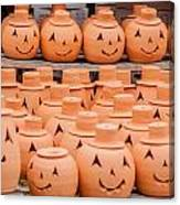 Clay Pumpkins Standing Happy Near The Wood Fence Canvas Print