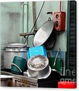 Clean Pots And Pans On Outdoor Sink Canvas Print
